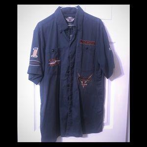 Harley Davidson Short Sleeve Blue Button Down